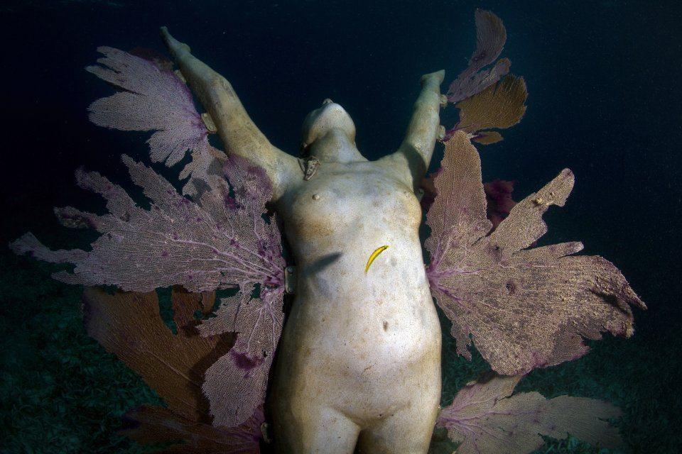 Reclamation. Depth 5m, MUSA Collection, Punta Nizuc, Mexico. Photo: Jason Decaires Taylor