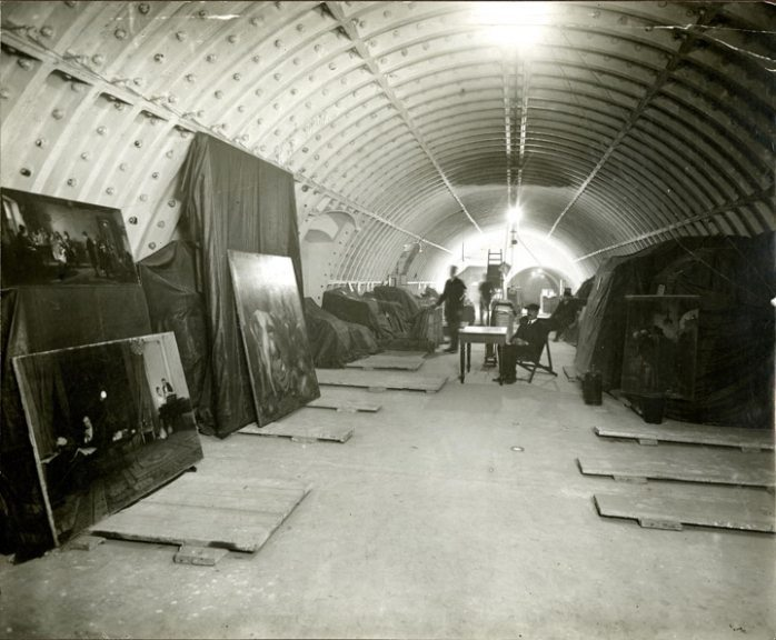The incomplete tunnel was used as a storage bunker for works of art during the First World War.