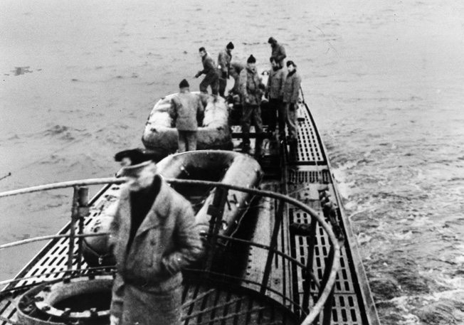 Inflatable rubber rafts on the after deck of U-537 in Martin Bay, Labrador, Newfoundland