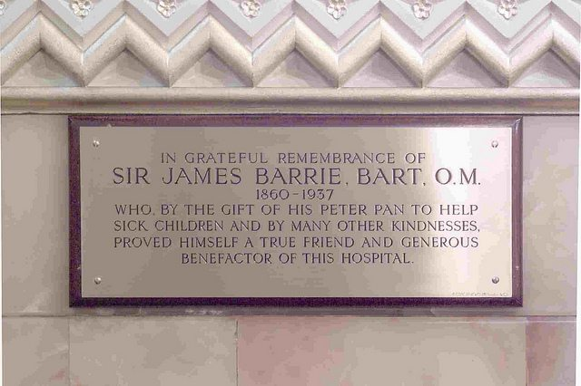 J.M. Barrie's memorial plaque found in the hospital's chapel.