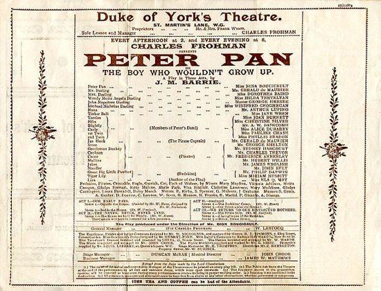 The original 1904 programme for Peter Pan.