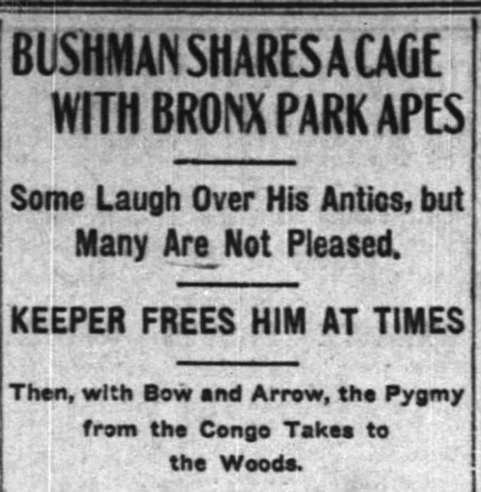 The New York Times report about Ota Benga on 9 September, 1906. Image: The New York Times