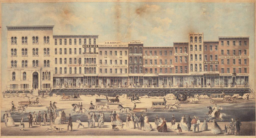 Raising a block of buildings on Lake Street