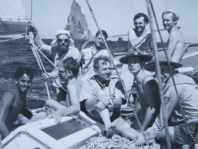 Dick Smith holding court with his crew that attempted to climb Balls Pyramid in Dec 1964