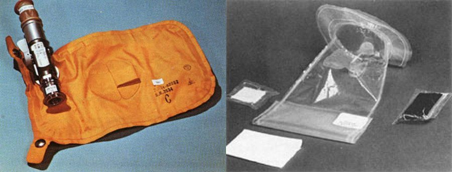 The bags used for storing urine (left) and feces (right) during the Apollo missions. Source: NASA
