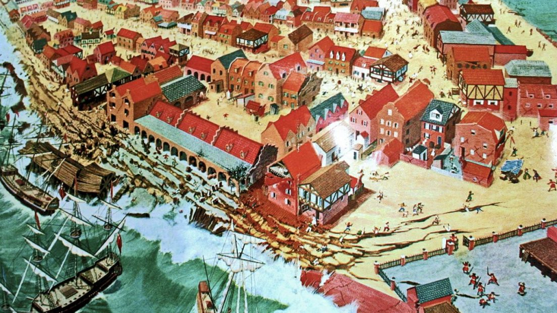 """Robert W. Nicholson created this artistic impression of events which occurred during the June 7, 1692 """"Port Royal Earthquake."""" The scene recreates the destruction caused by the quake and resulting tsunami which sent much of Port Royal into the sea."""