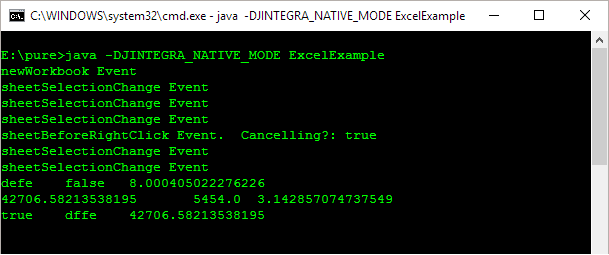 Accessing Excel from Java: Display output with events