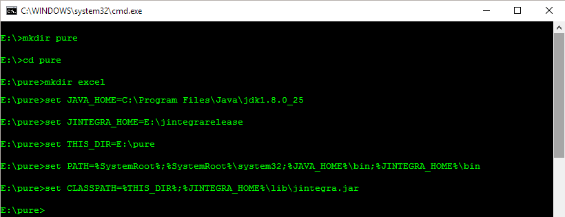 Accessing Excel from Java: Update environment variables