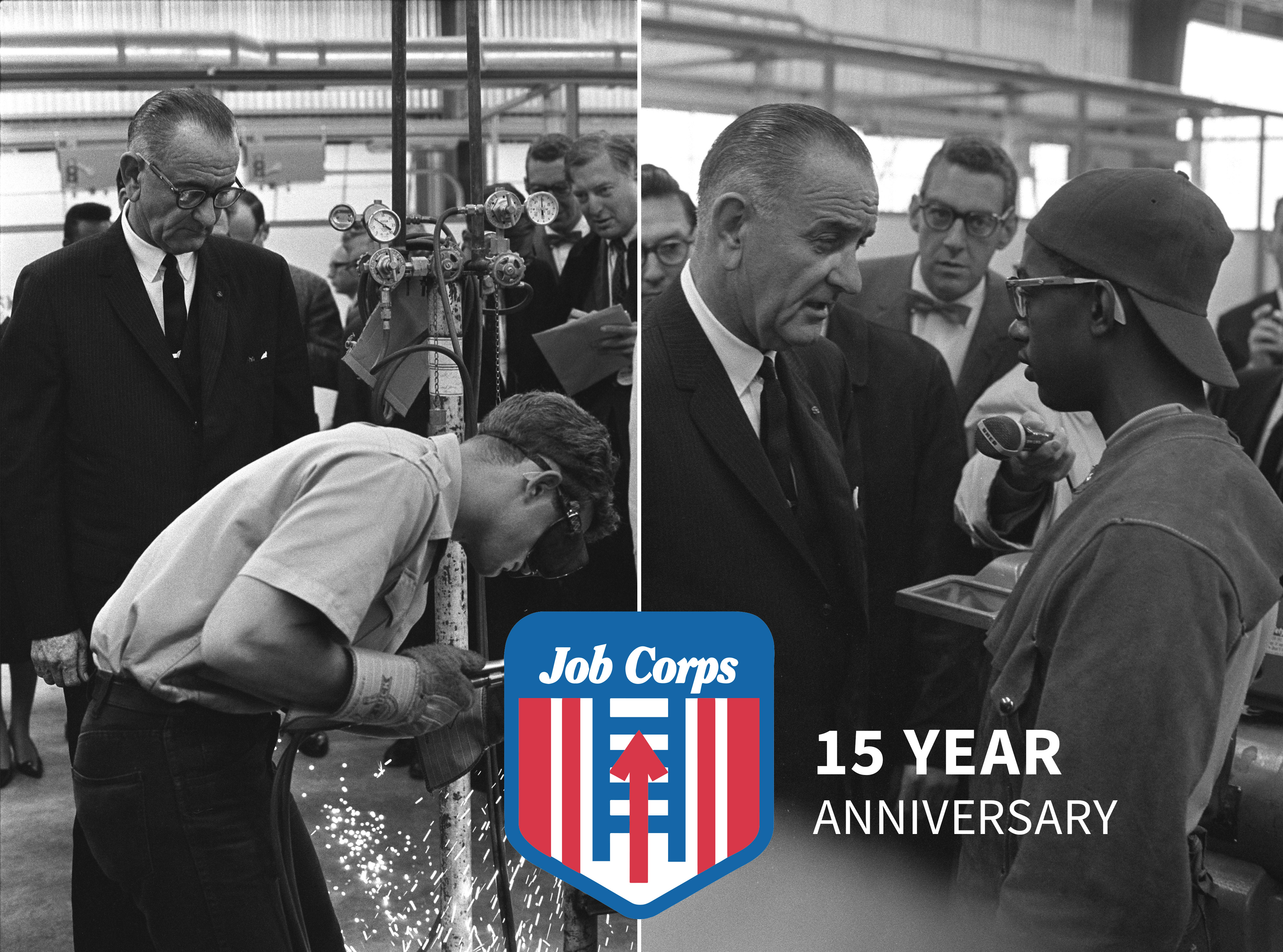 LBJ observes as Job Corps student demonstrates his new skills