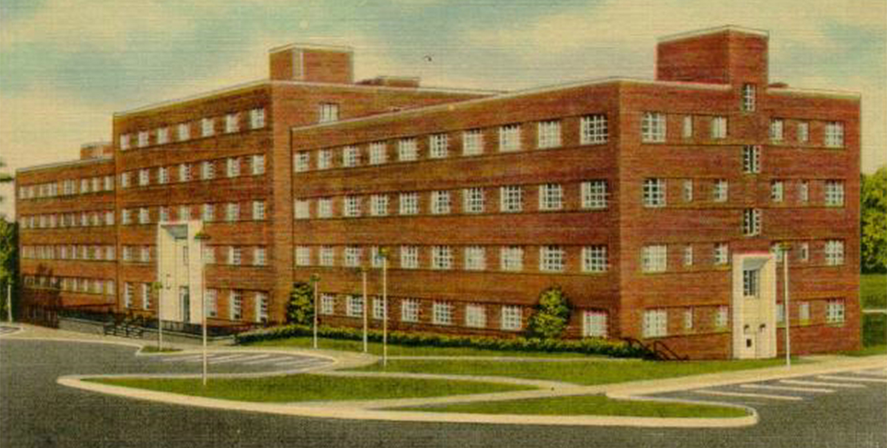 old postcard photo of one of the center's building