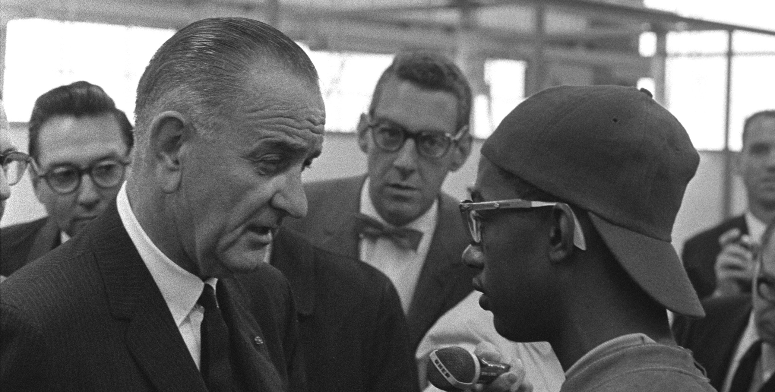 President Lyndon Johnson speaking with Gary Job Corps student