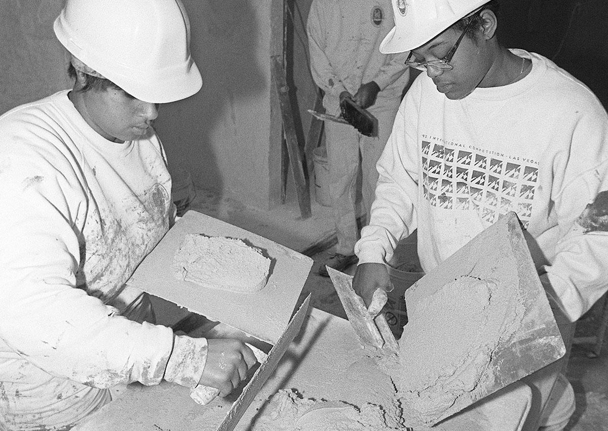 job corp students doing masonry on site