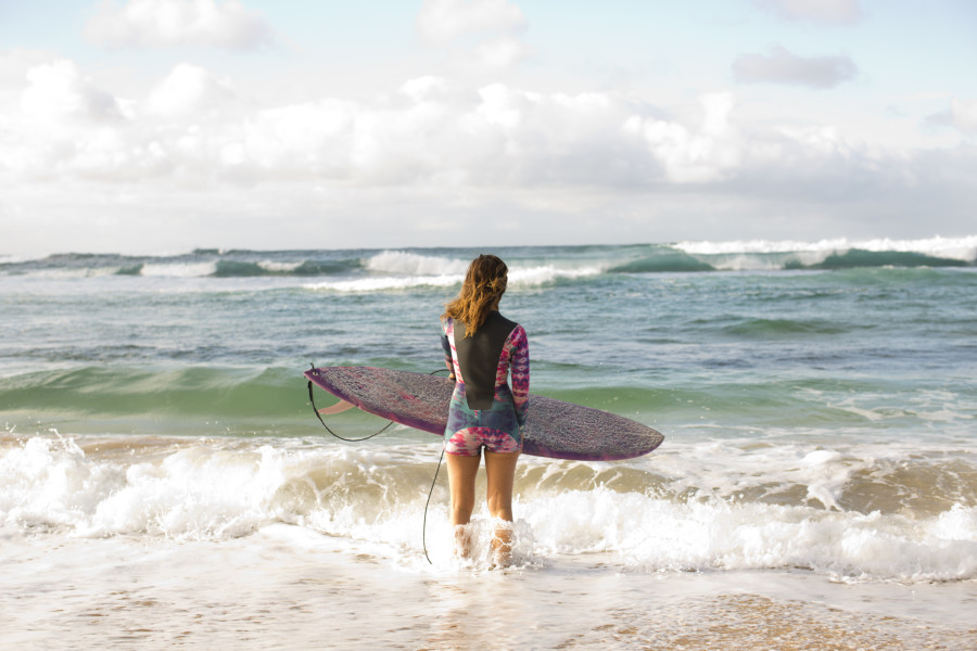 Kassia Meador pre surf on Hawaii's North Shore