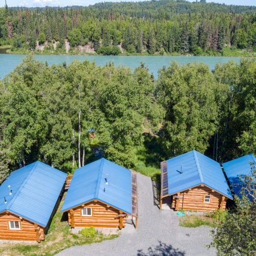 Cabins 1-4 Aerial view to the river
