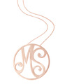 """MS"" Large Diamond Signature Pendant in 14k Rose Gold"