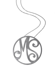 """""""MS"""" Large Signature Pendant in Black Rhodium Plated Sterling Silver with White Diamonds"""