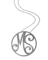 """MS"" Large Signature Pendant in Black Rhodium Plated Sterling Silver with White Diamonds"