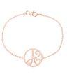 """A"" Diamond Mini Initial Bracelet in Rose Gold Vermeil"