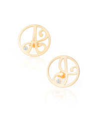 """A"" Diamond Mini Initial Ear Studs in 18k Yellow Gold Vermeil"