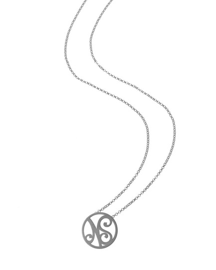 """NS"" Mini Signature Pendant in Black Rhodium Plated Sterling Silver"