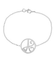"""A"" Diamond Mini Initial Bracelet in White Rhodium Plated Sterling Silver"