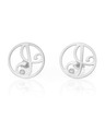 """A"" Diamond Mini Initial Ear Studs in White Rhodium Plated Sterling Silver"