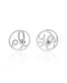"""I Do"" Ear Studs in White Rhodium Plated Sterling Silver"