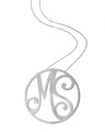 """MS"" Large Signature Pendant in White Rhodium Plated Sterling Silver"