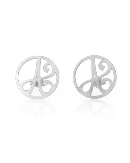 """A"" Mini Initial Ear Studs in White Rhodium Plated Sterling Silver"
