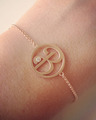 """B"" Diamond Mini Initial Bracelet in Rose Gold"