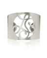 """LS"" Signature Monogram Cuff Bracelet in White Rhodium Plated Sterling Silver"