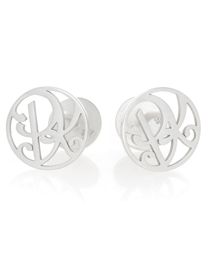 """PK"" Signature Cufflinks in Sterling Silver"
