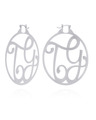 """TY"" Medium Signature Monogram Hoops in White Rhodium Plated Sterling Silver"