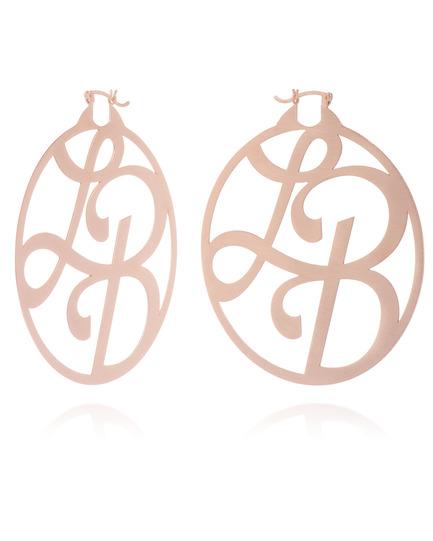 """""""LB"""" Signature Monogram Hoops in Rose Gold Vermeil"""