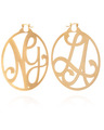"""NY, LA"" Large Signature Hoops in 18k Yellow Gold Vermeil"