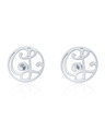 """CL"" Signature Monogram Ear Studs in White Rhodium Plated Sterling Silver"