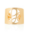 """PA"" Signature Monogram Cuff Bracelet in 18k Yellow Gold Vermeil"