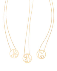 """A,B,C"" Mini Initial Pendants in 18k Yellow Gold Vermeil"