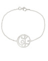 """CL"" Mini Signature Monogram Bracelet in White Rhodium Plated Sterling Silver"