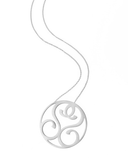 """""""S"""" Reflection Pendant in Rhodium Plated Sterling Silver"""