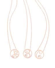 A, B, C Diamond Mini Initial Pendants in Rose Gold Vermeil