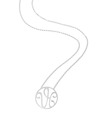 """VH"" Small Signature Pendant in White Rhodium Plated Sterling Silver"