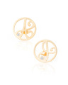 """A"" and ""J"" Diamond Mini Initial Ear Studs in 14k Yellow Gold"