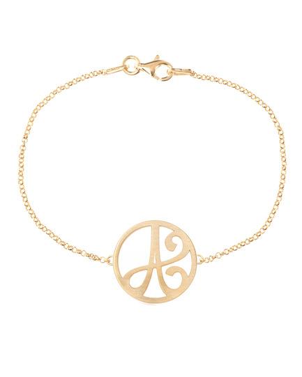 """A"" Mini Initial Bracelet in 14k Yellow Gold"