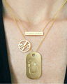 Lab Diamond Tag in 18k Yellow Gold Vermeil on a Diamond Mini Initial Pendant Chain