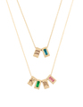 "2 layered Tribe Necklaces featuring Blue Topaz & Aquarius and ""K"", Emerald, ""M"" and Pink Tourmaline"