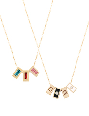 Tribe Chains featuring Blue Topaz, Ruby and Pink Tourmaline & Libra, Black Enamel, Aquarius and White Enamel