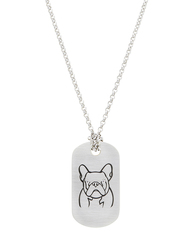 French Bulldog Diamond Tag in Sterling Silver