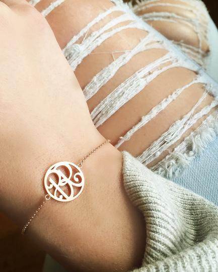 """BR"" Mini Signature Bracelet in Rose Gold Vermeil"