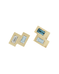 Tribe Double Tetris Ear Studs with Aquamarine, Diamond and London Blue Topaz